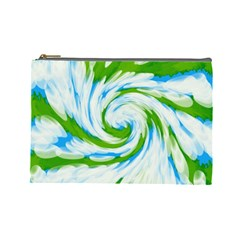 Tie Dye Green Blue Abstract Swirl Cosmetic Bag (large)  by BrightVibesDesign