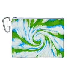 Tie Dye Green Blue Abstract Swirl Canvas Cosmetic Bag (l) by BrightVibesDesign