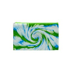 Tie Dye Green Blue Abstract Swirl Cosmetic Bag (xs)