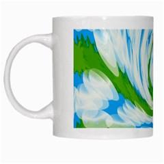 Tie Dye Green Blue Abstract Swirl White Mugs by BrightVibesDesign