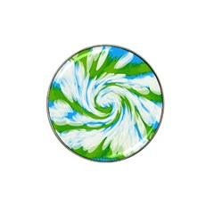 Tie Dye Green Blue Abstract Swirl Hat Clip Ball Marker (4 Pack) by BrightVibesDesign