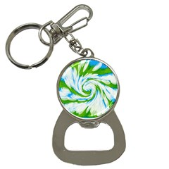 Tie Dye Green Blue Abstract Swirl Bottle Opener Key Chains by BrightVibesDesign