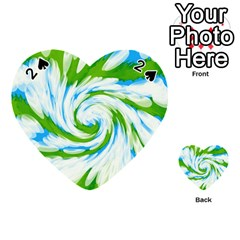 Tie Dye Green Blue Abstract Swirl Playing Cards 54 (heart)  by BrightVibesDesign
