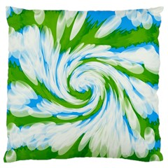 Tie Dye Green Blue Abstract Swirl Large Flano Cushion Case (one Side) by BrightVibesDesign