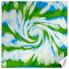 Tie Dye Green Blue Abstract Swirl Canvas 12  X 12   by BrightVibesDesign