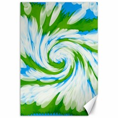 Tie Dye Green Blue Abstract Swirl Canvas 12  X 18   by BrightVibesDesign