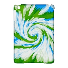 Tie Dye Green Blue Abstract Swirl Apple Ipad Mini Hardshell Case (compatible With Smart Cover) by BrightVibesDesign