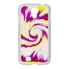 Tie Dye Pink Yellow Swirl Abstract Samsung Galaxy S4 I9500/ I9505 Case (white) by BrightVibesDesign