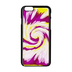 Tie Dye Pink Yellow Swirl Abstract Apple Iphone 6/6s Black Enamel Case by BrightVibesDesign