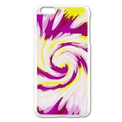 Tie Dye Pink Yellow Swirl Abstract Apple Iphone 6 Plus/6s Plus Enamel White Case by BrightVibesDesign