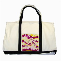 Tie Dye Pink Yellow Swirl Abstract Two Tone Tote Bag by BrightVibesDesign
