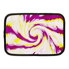 Tie Dye Pink Yellow Swirl Abstract Netbook Case (medium)  by BrightVibesDesign