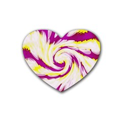 Tie Dye Pink Yellow Abstract Swirl Rubber Coaster (heart)  by BrightVibesDesign
