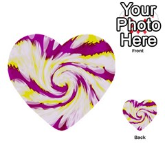 Tie Dye Pink Yellow Abstract Swirl Multi Purpose Cards (heart)  by BrightVibesDesign
