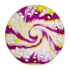 Tie Dye Pink Yellow Abstract Swirl Ornament (round Filigree)  by BrightVibesDesign