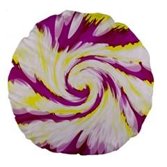 Tie Dye Pink Yellow Abstract Swirl Large 18  Premium Round Cushions by BrightVibesDesign