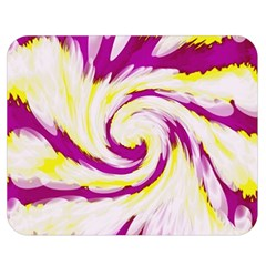 Tie Dye Pink Yellow Abstract Swirl Double Sided Flano Blanket (medium)  by BrightVibesDesign