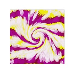 Tie Dye Pink Yellow Abstract Swirl Small Satin Scarf (square)  by BrightVibesDesign