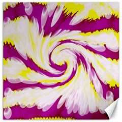 Tie Dye Pink Yellow Abstract Swirl Canvas 20  X 20   by BrightVibesDesign