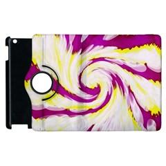 Tie Dye Pink Yellow Abstract Swirl Apple Ipad 3/4 Flip 360 Case by BrightVibesDesign