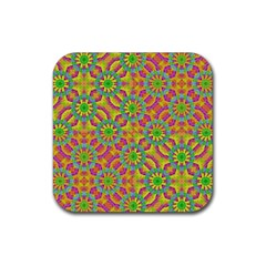 Modern Colorful Geometric Rubber Square Coaster (4 Pack)  by dflcprints