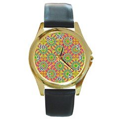 Modern Colorful Geometric Round Gold Metal Watch by dflcprints