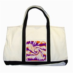 Tie Dye Purple Orange Abstract Swirl Two Tone Tote Bag by BrightVibesDesign