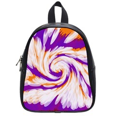 Tie Dye Purple Orange Abstract Swirl School Bags (small)  by BrightVibesDesign
