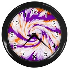 Tie Dye Purple Orange Abstract Swirl Wall Clocks (black) by BrightVibesDesign
