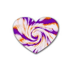Tie Dye Purple Orange Abstract Swirl Rubber Coaster (heart)  by BrightVibesDesign