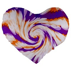 Tie Dye Purple Orange Abstract Swirl Large 19  Premium Flano Heart Shape Cushions by BrightVibesDesign