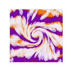 Tie Dye Purple Orange Abstract Swirl Small Satin Scarf (square)  by BrightVibesDesign