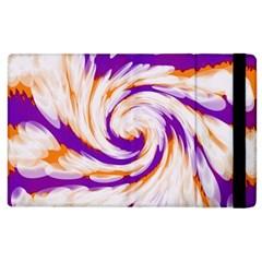 Tie Dye Purple Orange Abstract Swirl Apple Ipad 2 Flip Case by BrightVibesDesign