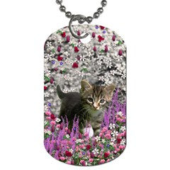 Emma In Flowers I, Little Gray Tabby Kitty Cat Dog Tag (one Side) by DianeClancy