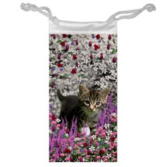 Emma In Flowers I, Little Gray Tabby Kitty Cat Jewelry Bags by DianeClancy