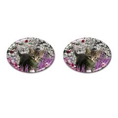 Emma In Flowers I, Little Gray Tabby Kitty Cat Cufflinks (oval) by DianeClancy