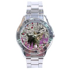 Emma In Flowers I, Little Gray Tabby Kitty Cat Stainless Steel Analogue Watch by DianeClancy