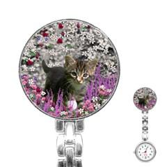 Emma In Flowers I, Little Gray Tabby Kitty Cat Stainless Steel Nurses Watch by DianeClancy