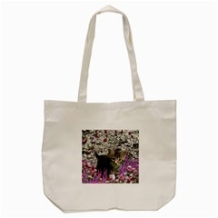 Emma In Flowers I, Little Gray Tabby Kitty Cat Tote Bag (cream) by DianeClancy
