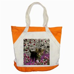 Emma In Flowers I, Little Gray Tabby Kitty Cat Accent Tote Bag by DianeClancy