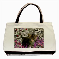 Emma In Flowers I, Little Gray Tabby Kitty Cat Basic Tote Bag (two Sides) by DianeClancy