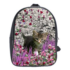 Emma In Flowers I, Little Gray Tabby Kitty Cat School Bags(large)  by DianeClancy