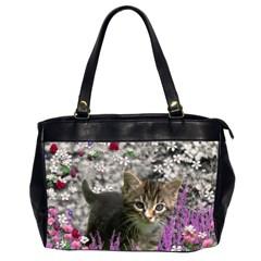 Emma In Flowers I, Little Gray Tabby Kitty Cat Office Handbags (2 Sides)  by DianeClancy