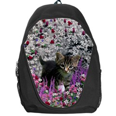 Emma In Flowers I, Little Gray Tabby Kitty Cat Backpack Bag by DianeClancy