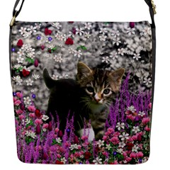Emma In Flowers I, Little Gray Tabby Kitty Cat Flap Messenger Bag (s) by DianeClancy