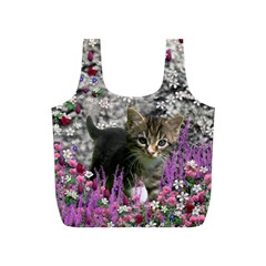 Emma In Flowers I, Little Gray Tabby Kitty Cat Full Print Recycle Bags (s)  by DianeClancy