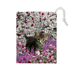 Emma In Flowers I, Little Gray Tabby Kitty Cat Drawstring Pouches (Large)  by DianeClancy