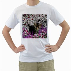 Emma In Flowers I, Little Gray Tabby Kitty Cat Men s T Shirt (white) (two Sided) by DianeClancy