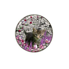 Emma In Flowers I, Little Gray Tabby Kitty Cat Hat Clip Ball Marker (10 Pack) by DianeClancy