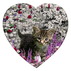 Emma In Flowers I, Little Gray Tabby Kitty Cat Jigsaw Puzzle (heart) by DianeClancy